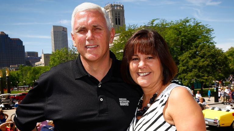 Mike Pence and his wife Karen at the 2014 IPL 500 Festival Parade in Indianapolis