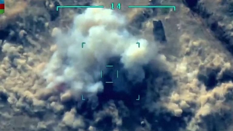 The Defence Ministry of Azerbaijan released footage showing artillery strikes on Thursday (October 1) as the conflict in Nagorno-Karabakh entered its fifth day.