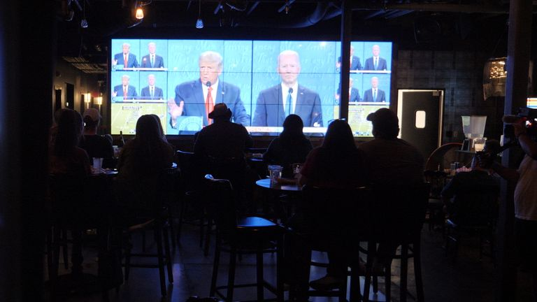 People in Nashville watch the debate