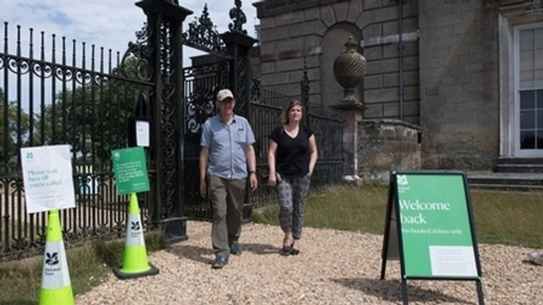 Signage at the National Trust's Petworth House, West Sussex, as it welcomes back visitors following the coronavirus lockdown 13/7/20