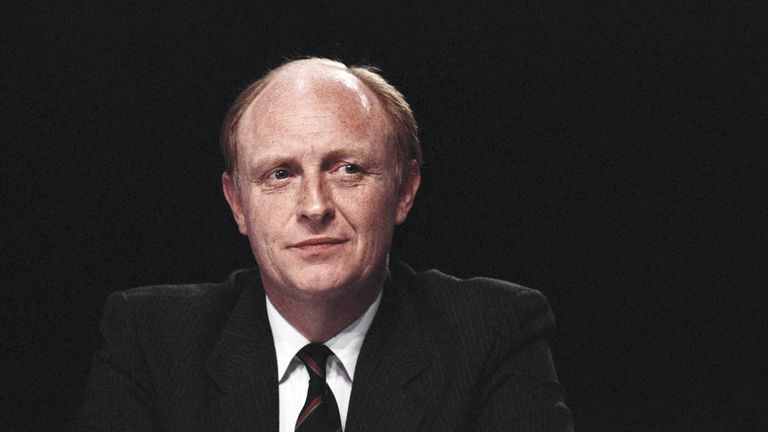 Neil Kinnock, leader of the Labour Party and member of Parliament, at the Labour Party conference in Blackpool, Lancashire, U.K., on Monday, October 3, 1988. (Photo by Bryn Colton/Getty Images)