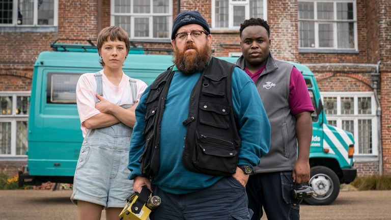 Emma D'Arcy, Nick Frost and Samson Kayo in Truth Seekers. Pic: Prime Video
