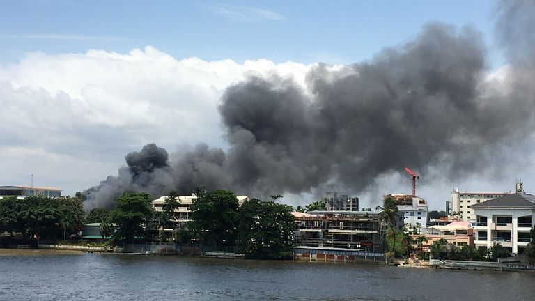 A general view of smoke arising from the Ikoyi prison that is on fire in Lagos on October 22, 2020