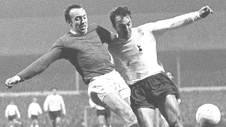 Nobby Stiles in a tussle with Jimmy Greaves at White Hart Lane in 1968