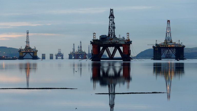 Drilling rigs are parked up in the Cromarty Firth near Invergordon, Scotland, Britain January 27, 2015