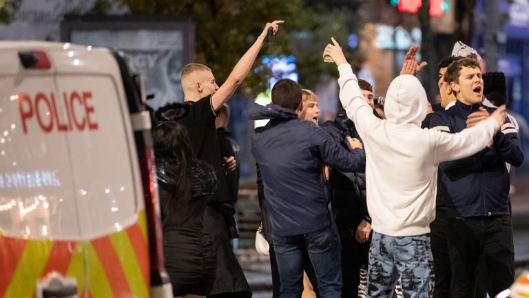 Large crowds of young people were seen on the streets of Nottingham last night