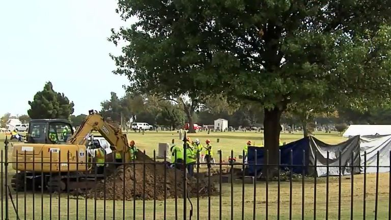Archeologists at Oaklawn Cemetery. Pic: KTUL