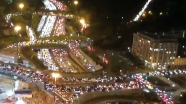 Traffic jams spanned for miles in Paris as people tried to leave the city ahead of the new lockdown measures