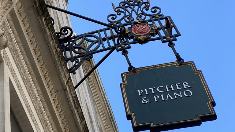 Signage for a Pitcher & Piano bar, owned by Marston's, is seen in London, Britain, June 23, 2020