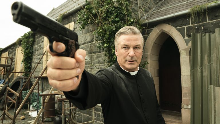 Alec Baldwin makes a cameo as a kick-ass preist. Pic: Aidan Monaghan/Pixie