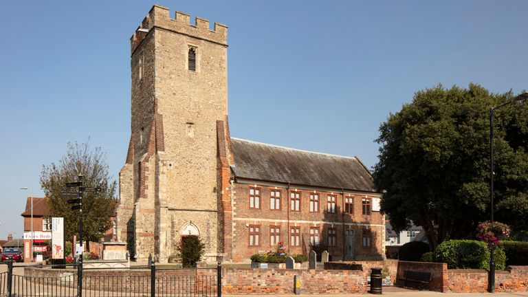 Heritage at Risk.Thomas Plume's Library, Market Hill, Maldon, Essex..View from south.