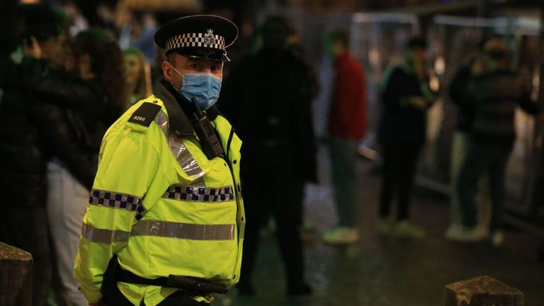 A police officer in Liverpool city centre on Saturday