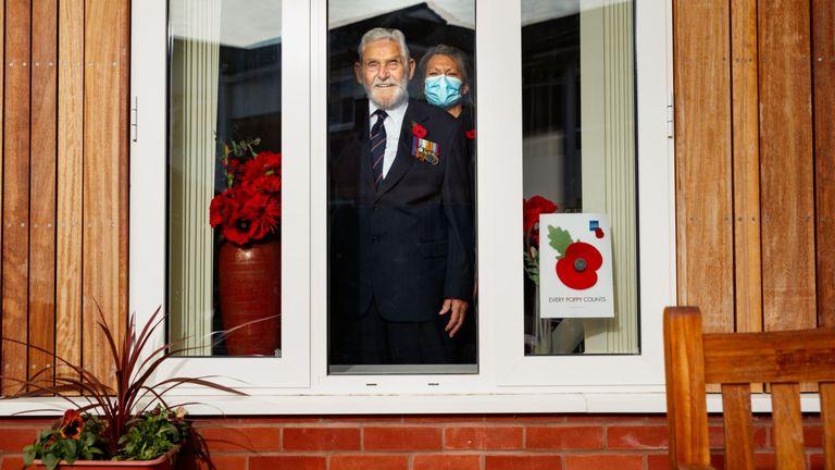 Second World War veteran Ken Judd and his carer
