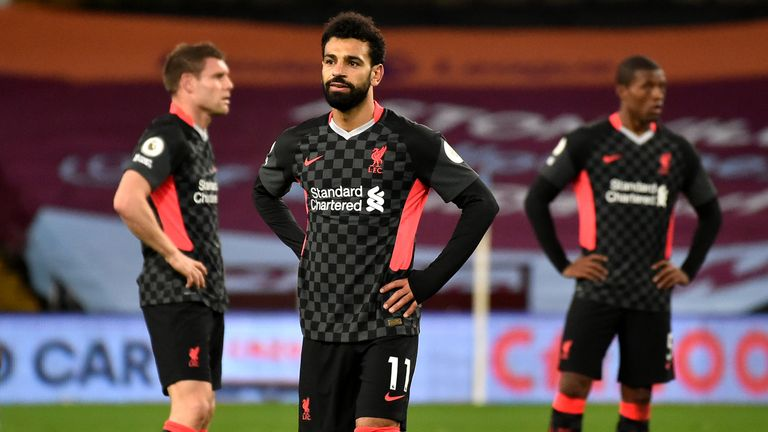 Liverpool's Mo Salah appears dejected after his side's 7-2 drubbing by Aston Villa