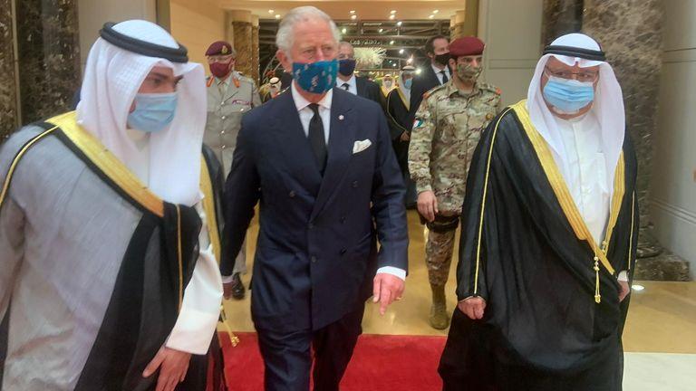 Prince Charles in Kuwait following the death of Sheikh Sabah Al Ahmad Al Sabah