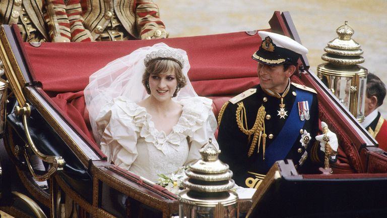Princess Diana and Prince Charles on their wedding day