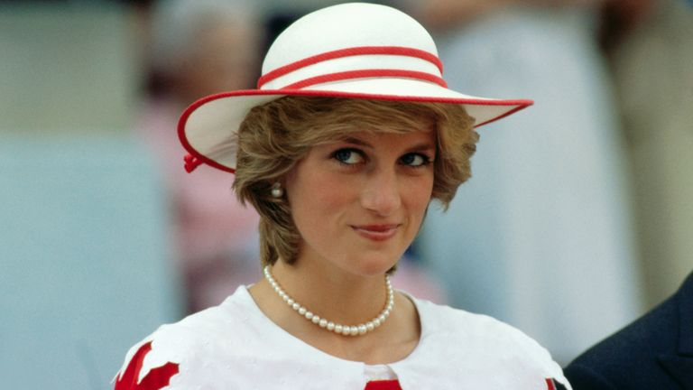 Diana, Princess of Wales, wears an outfit in the colors of Canada during a state visit to Edmonton, Alberta, with her husband Prince Charles in 1983