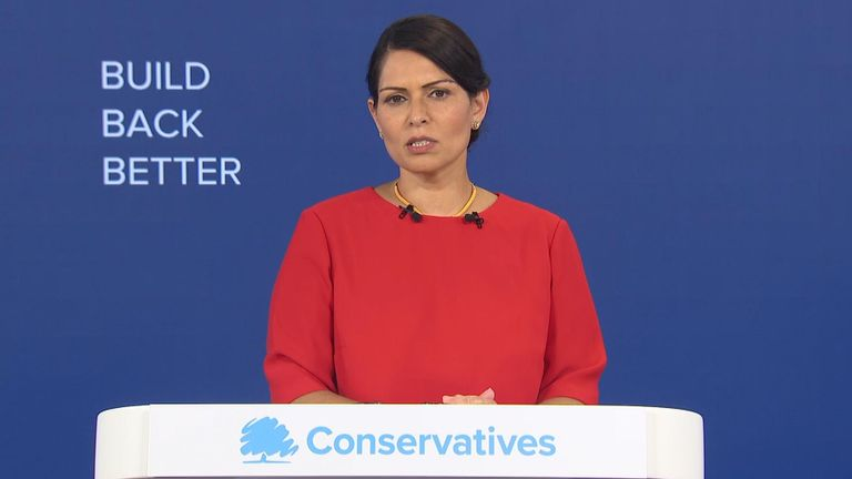 Home Secretary Priti Patel delivers her speech at the virtual Conservative Party conference