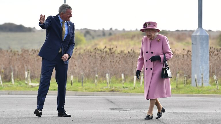 Queen Elizabeth II arrives for a visit to the Defence Science and Technology Laboratory (DSTL) at Porton Down, Wiltshire, to view the Energetics Enclosure, a display of weaponry and tactics used in counter intelligence, and meet staff who were involved in the Salisbury Novichok incident.