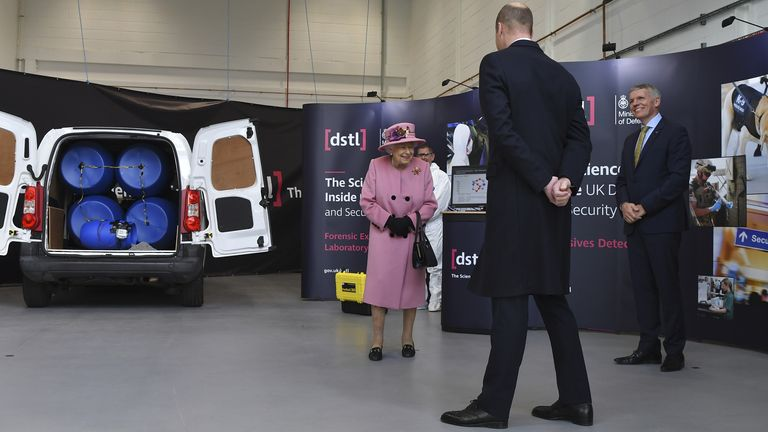 (left to right) Queen Elizabeth II, the Duke of Cambridge and Chief Executive Gary Aitkenhead view a demonstration of a Forensic Explosives Investigation, with a model explosive device in a vehicle, during a visit to the Energetics Analysis Centre of the Defence Science and Technology Laboratory (DSTL) at Porton Down, Wiltshire.
