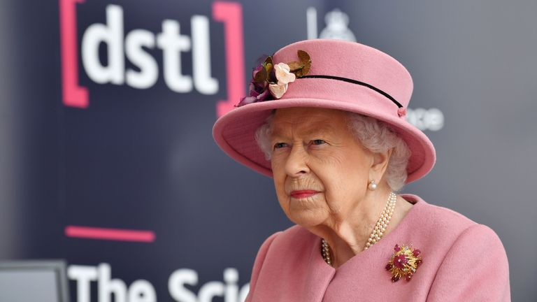 Queen Elizabeth II during a visit to the Energetics Analysis Centre at the Defence Science and Technology Laboratory (DSTL) at Porton Down, Wiltshire, to view a display of weaponry and tactics used in counter intelligence, and meet staff who were involved in the Salisbury Novichok incident.