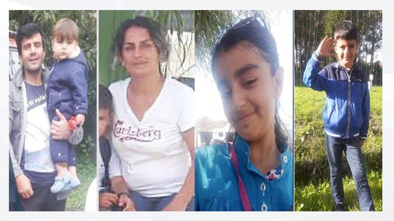 Rasoul Iran-Nejad, 35, Shiva Mohammad Panahi, 35, Anita, nine, and Armin, six. Pic: Hengaw Organisation for Human Rights