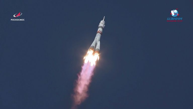 The Soyuz MS-17 spacecraft blasts off to the International Space Station (ISS) from the launchpad at the Baikonur Cosmodrome, Kazakhstan. Pic: Roscosmos/Reuters