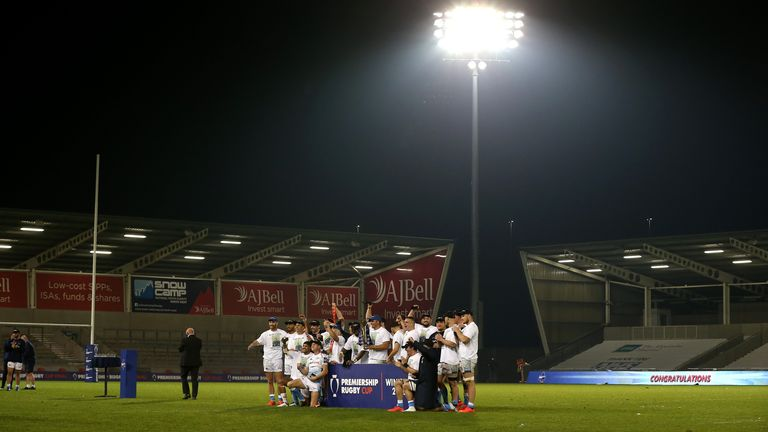 Sale Sharks lifted the Premiership Rugby Cup in an empty stadium last month due to the pandemic