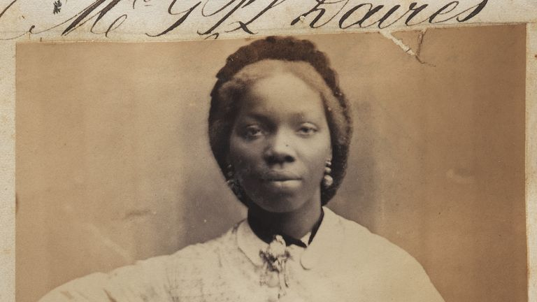 """National Portrait Gallery of Sarah Forbes Bonetta, Queen Victoria's African goddaughter. English Heritage is displaying a portrait of Bonetta, by artist Hannah Uzor, as part of a plan to feature works of """"overlooked"""" black figures connected with its sites."""