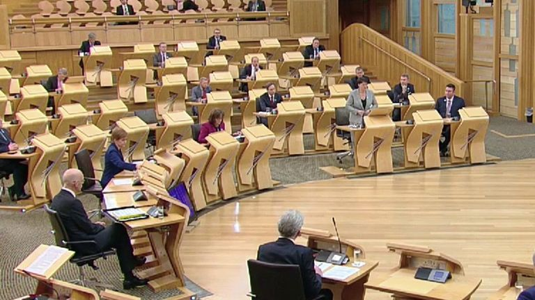First minister Nicola Sturgeon clashes with Conservative leader Ruth Davidson