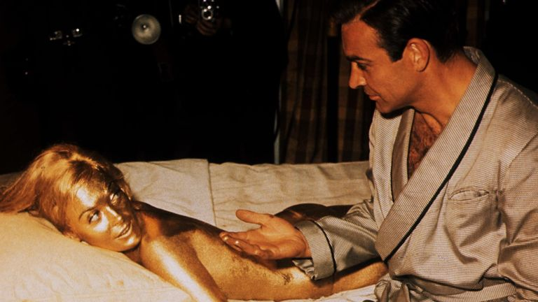 Sean Connery, Shirley Eaton in Goldfinger 1964