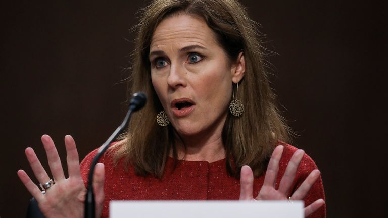 U.S. Supreme Court nominee Judge Amy Coney Barrett testifies before the Senate Judiciary Committee on the second day of her confirmation hearing on Capitol Hill on October 13, 2020 in Washington, DC