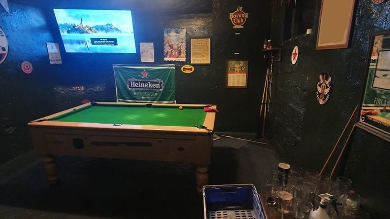 Police found a room that contained a pool table and large TV screen