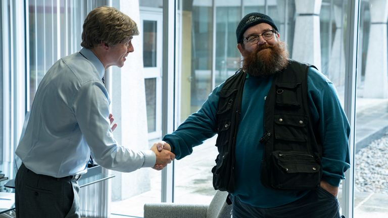 Simon Pegg as Dave, Nick Frost as Gus Roberts in Truth Seekers. Pic: Prime Video