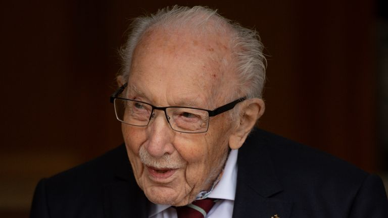 Captain Sir Thomas Moore, 100, was presented with the first ever veterans railcard