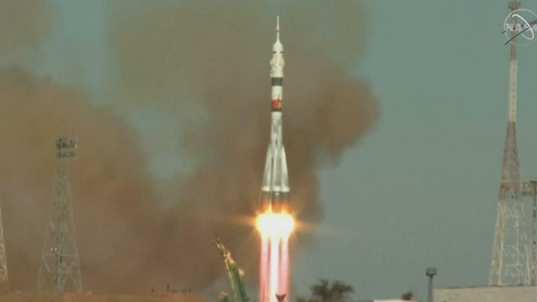 Three astronauts launch to space station