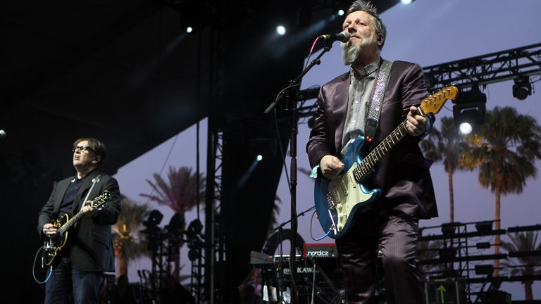 Chris Difford and Glenn Tilbrook of Squeeze perform on stage during day 2 of the 2012 Coachella Valley Music & Arts Festival at the Empire Polo Field on April 14, 2012 in Indio, California