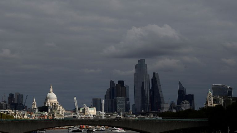 St Paul's Cathedral is seen together with skyscrapers in the City of London financial district, Britain, October 16, 2020. REUTERS/Toby Melville