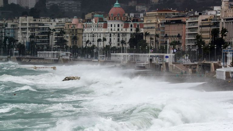 Waves hit the shore in Nice as Storm Alex reaches the French Riviera