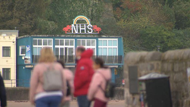 NHS sign in Tenby Wales
