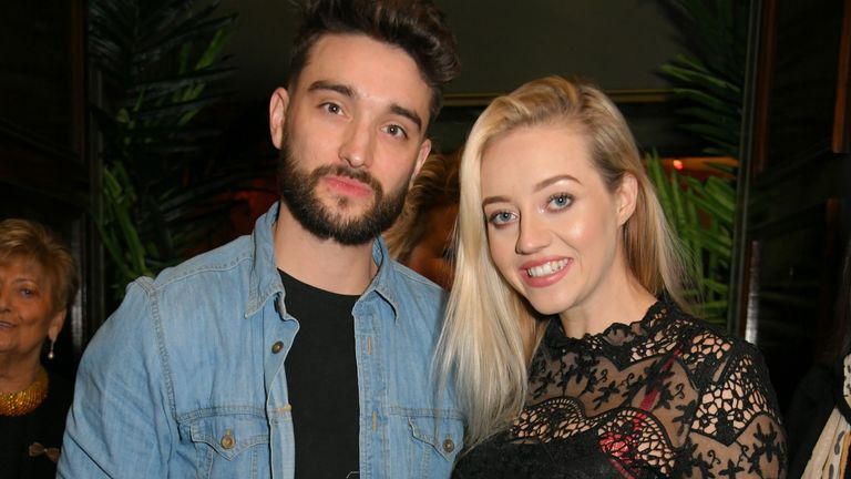 """Tom Parker (L) and Kelsey Hardwick attend the press night after party for """"Rip It Up"""" at Cafe de Paris on February 12, 2019 in London, England"""