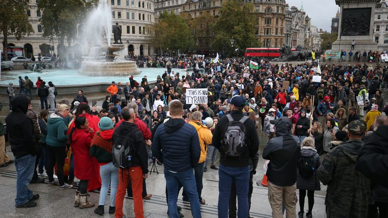 People protest against lockdown restrictions in Trafalgar Square