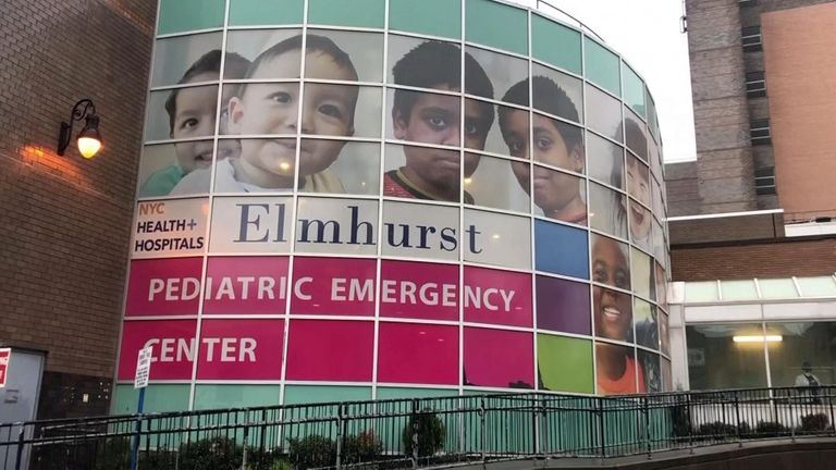 People in Queens, the New York neighbourhood where Donald Trump grew up. Elmhurst Hospital