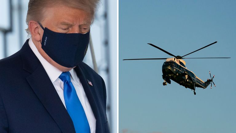 The president was flown to Walter Reed Medical Center by helicopter