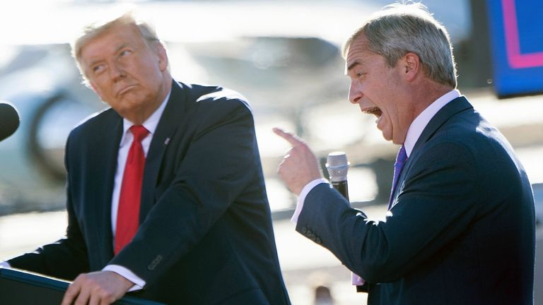 Nigel Farage praising Donald Trump speaks during a Make America Great Again rally at Phoenix Goodyear Airport October 28