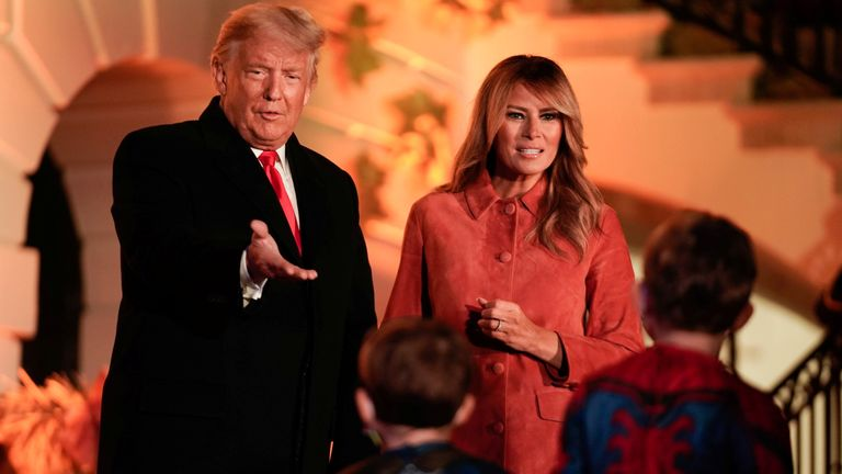U.S. President Donald Trump and U.S. first lady Melania Trump host a Halloween event at the White House in Washington, U.S.,October 25, 2020. REUTERS/Ken Cedeno