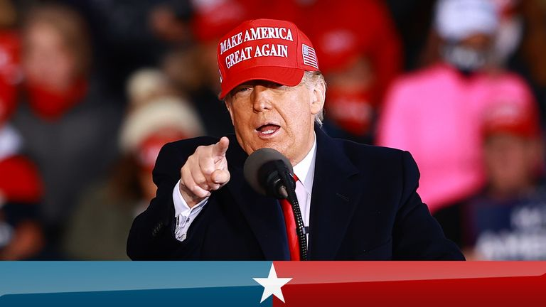 US President Donald Trump speaks during a campaign rally on October 17, 2020 in Muskegon, Michigan