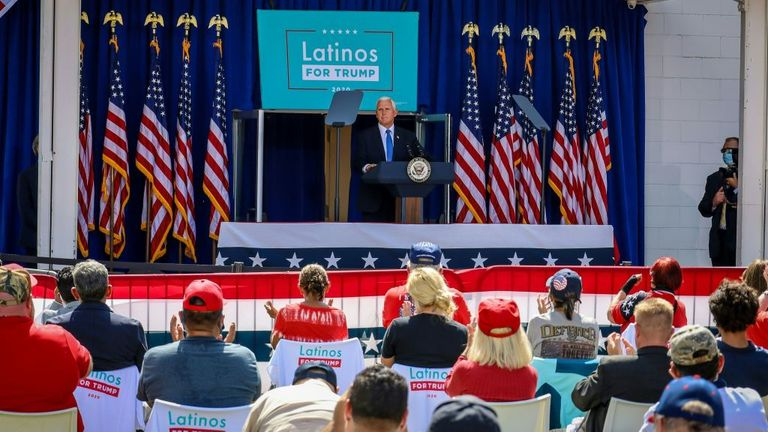 United States Vice President Mike Pence speaks at a Latinos For Trump rally in Orlando, Florida