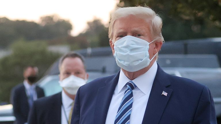 U.S. President Donald Trump looks over at reporters and photographers as the president departs Walter Reed National Military Medical Center after a fourth day of treatment for the coronavirus disease (COVID-19) to return to the White House in Washington from the hospital in Bethesda, Maryland, U.S., October 5, 2020. REUTERS/Jonathan Ernst