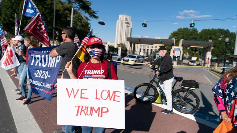 Supporters of U.S. President Donald Trump rally outside Walter Reed National Military Medical Center on October 3, 2020 in Bethesda, Maryland